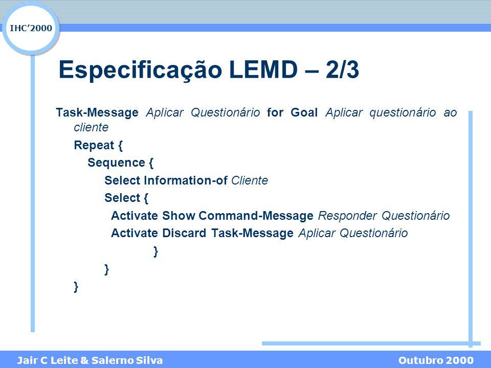 IHC'2000 Jair C Leite & Salerno SilvaOutubro 2000 Especificação LEMD – 2/3 Task-Message Aplicar Questionário for Goal Aplicar questionário ao cliente