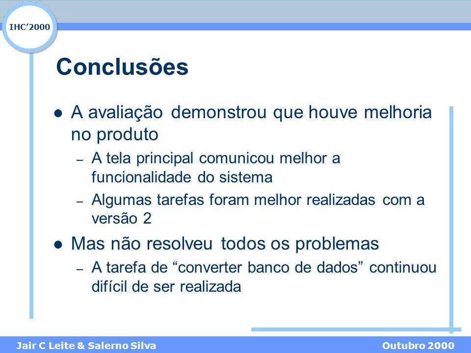 IHC'2000 Jair C Leite & Salerno SilvaOutubro 2000 Conclusões A avaliação demonstrou que houve melhoria no produto – A tela principal comunicou melhor a funcionalidade do sistema – Algumas tarefas foram melhor realizadas com a versão 2 Mas não resolveu todos os problemas – A tarefa de converter banco de dados continuou difícil de ser realizada