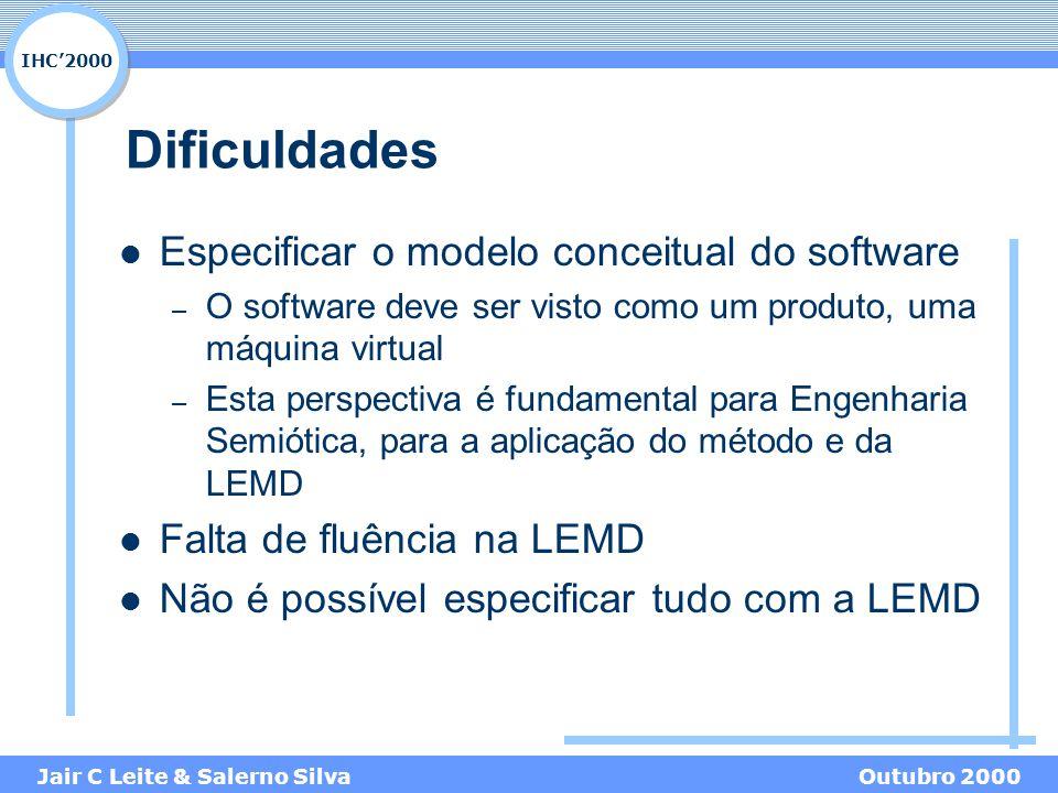 IHC'2000 Jair C Leite & Salerno SilvaOutubro 2000 Dificuldades Especificar o modelo conceitual do software – O software deve ser visto como um produto