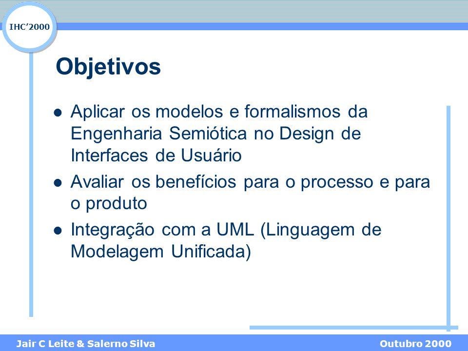 IHC'2000 Jair C Leite & Salerno SilvaOutubro 2000 Objetivos Aplicar os modelos e formalismos da Engenharia Semiótica no Design de Interfaces de Usuário Avaliar os benefícios para o processo e para o produto Integração com a UML (Linguagem de Modelagem Unificada)