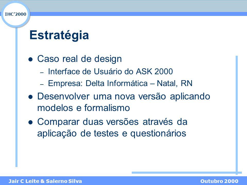 IHC'2000 Jair C Leite & Salerno SilvaOutubro 2000 Estratégia Caso real de design – Interface de Usuário do ASK 2000 – Empresa: Delta Informática – Natal, RN Desenvolver uma nova versão aplicando modelos e formalismo Comparar duas versões através da aplicação de testes e questionários