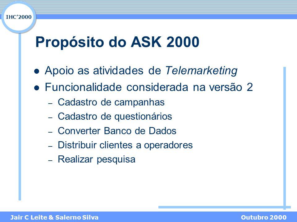 IHC'2000 Jair C Leite & Salerno SilvaOutubro 2000 Propósito do ASK 2000 Apoio as atividades de Telemarketing Funcionalidade considerada na versão 2 –