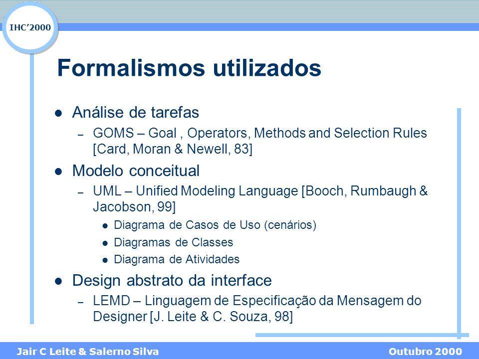 IHC'2000 Jair C Leite & Salerno SilvaOutubro 2000 Formalismos utilizados Análise de tarefas – GOMS – Goal, Operators, Methods and Selection Rules [Car