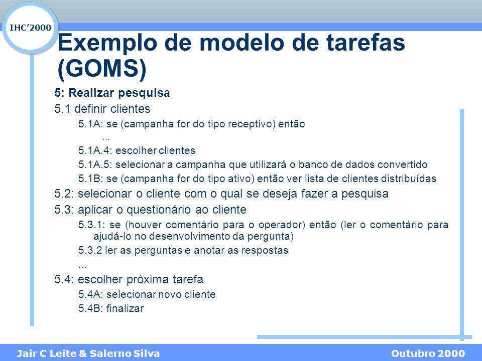 IHC'2000 Jair C Leite & Salerno SilvaOutubro 2000 Exemplo de modelo de tarefas (GOMS) 5: Realizar pesquisa 5.1 definir clientes 5.1A: se (campanha for do tipo receptivo) então...