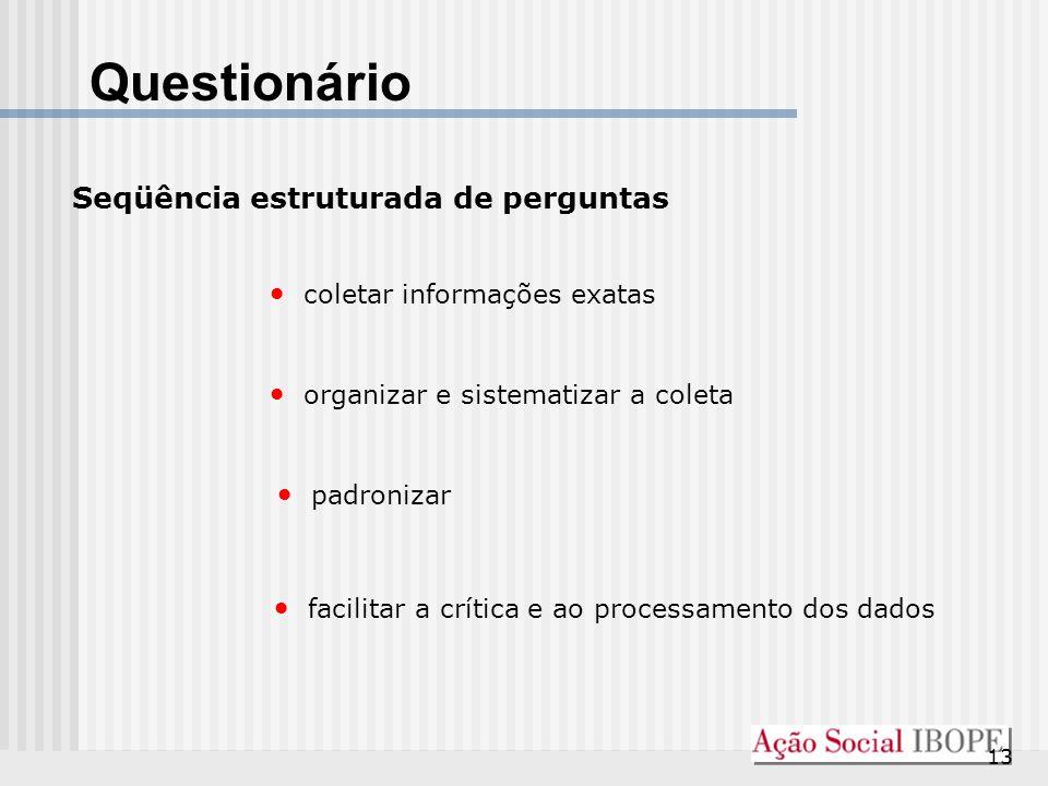 13 Questionário Seqüência estruturada de perguntas coletar informações exatas organizar e sistematizar a coleta padronizar facilitar a crítica e ao pr
