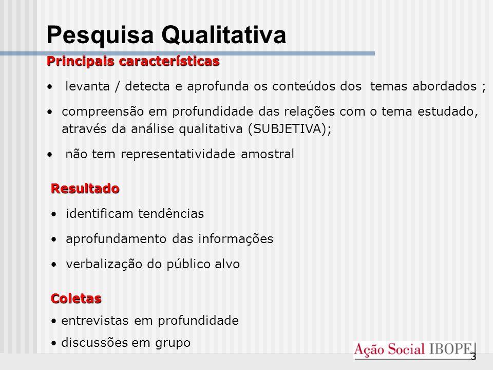 3 Pesquisa Qualitativa Principais características levanta / detecta e aprofunda os conteúdos dos temas abordados ; compreensão em profundidade das rel