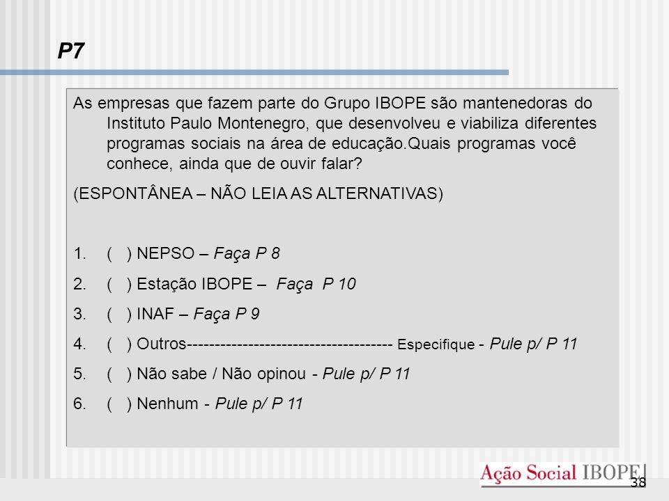 38 P7 As empresas que fazem parte do Grupo IBOPE são mantenedoras do Instituto Paulo Montenegro, que desenvolveu e viabiliza diferentes programas soci
