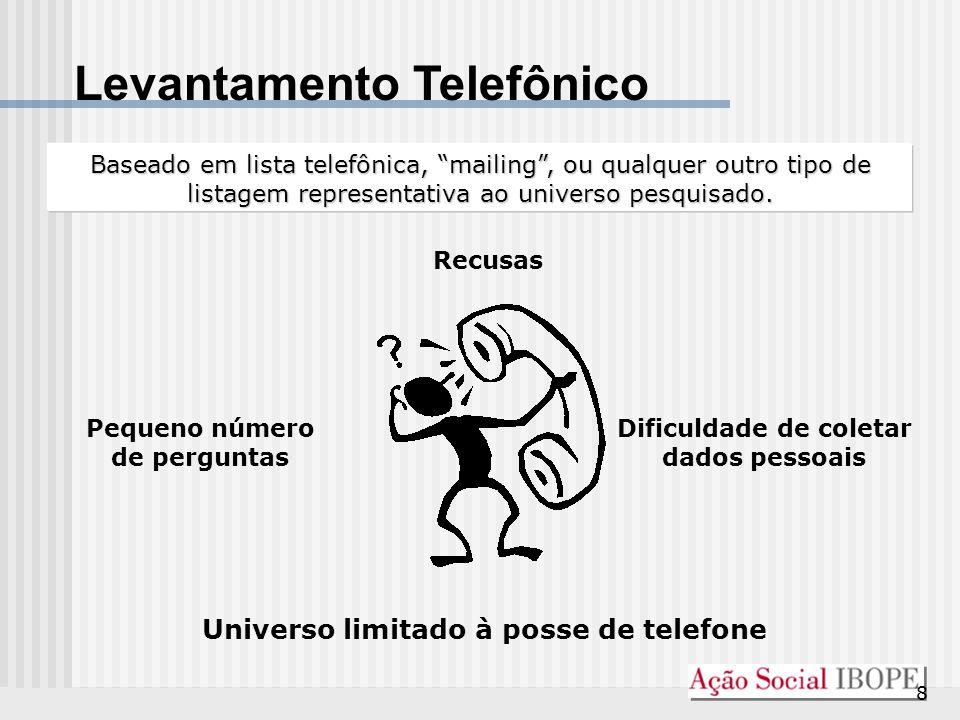 """8 Levantamento Telefônico Baseado em lista telefônica, """"mailing"""", ou qualquer outro tipo de listagem representativa ao universo pesquisado. Pequeno nú"""