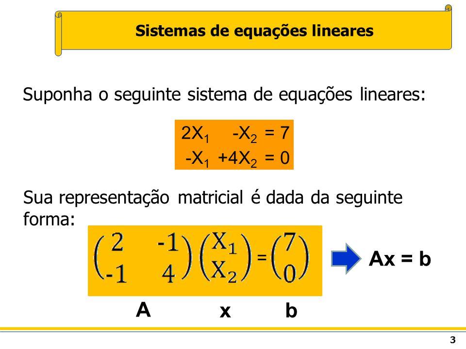 3 Suponha o seguinte sistema de equações lineares: 2X 1 -X 2 =7 -X 1 +4X 2 =0 Sua representação matricial é dada da seguinte forma: = A xb Ax = b
