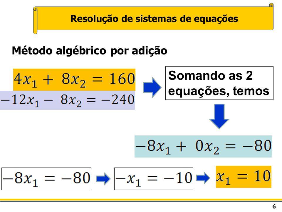 7 Resolução de sistemas de equações Método algébrico por adição Substituindo X 1 em qualquer uma das equações, temos X 1 = 10 X 2 = 15 Solução =