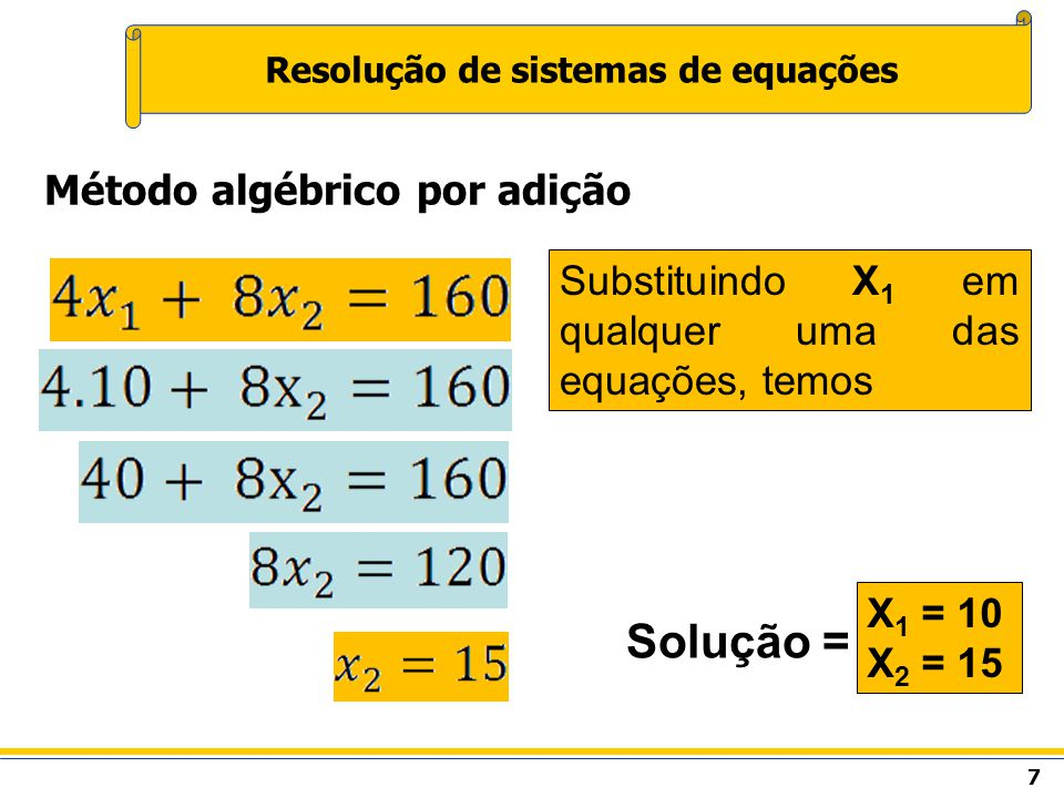 8 Resolução de sistemas de equações Método algébrico por substituição Isolar uma das variáveis em uma das equações, substituindo-se a relação obtida na outra equação.