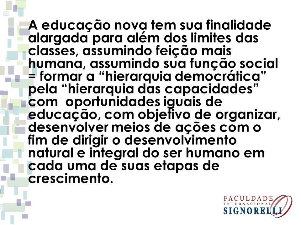 """A educação nova tem sua finalidade alargada para além dos limites das classes, assumindo feição mais humana, assumindo sua função social = formar a """"h"""
