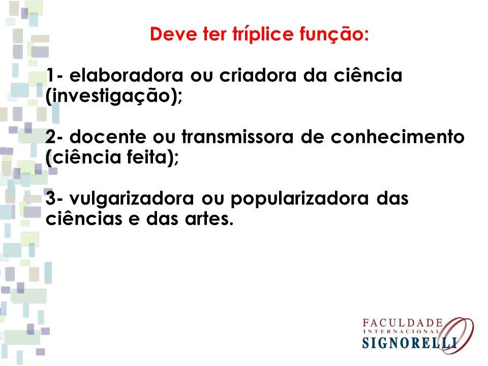 Deve ter tríplice função: 1- elaboradora ou criadora da ciência (investigação); 2- docente ou transmissora de conhecimento (ciência feita); 3- vulgari