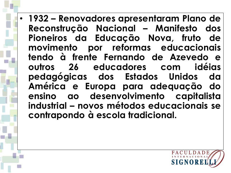 1932 – Renovadores apresentaram Plano de Reconstrução Nacional – Manifesto dos Pioneiros da Educação Nova, fruto de movimento por reformas educacionai