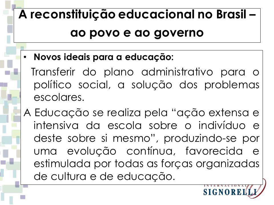 A reconstituição educacional no Brasil – ao povo e ao governo Novos ideais para a educação: Transferir do plano administrativo para o político social,