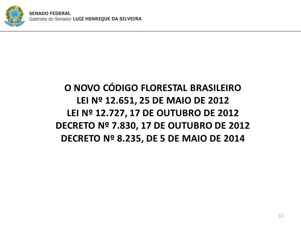10 O NOVO CÓDIGO FLORESTAL BRASILEIRO LEI Nº 12.651, 25 DE MAIO DE 2012 LEI Nº 12.727, 17 DE OUTUBRO DE 2012 DECRETO Nº 7.830, 17 DE OUTUBRO DE 2012 DECRETO Nº 8.235, DE 5 DE MAIO DE 2014