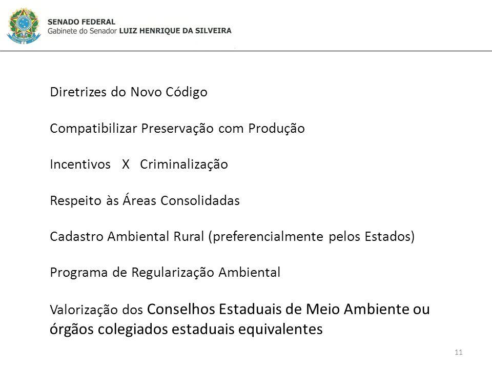 11 Diretrizes do Novo Código Compatibilizar Preservação com Produção Incentivos X Criminalização Respeito às Áreas Consolidadas Cadastro Ambiental Rural (preferencialmente pelos Estados) Programa de Regularização Ambiental Valorização dos Conselhos Estaduais de Meio Ambiente ou órgãos colegiados estaduais equivalentes