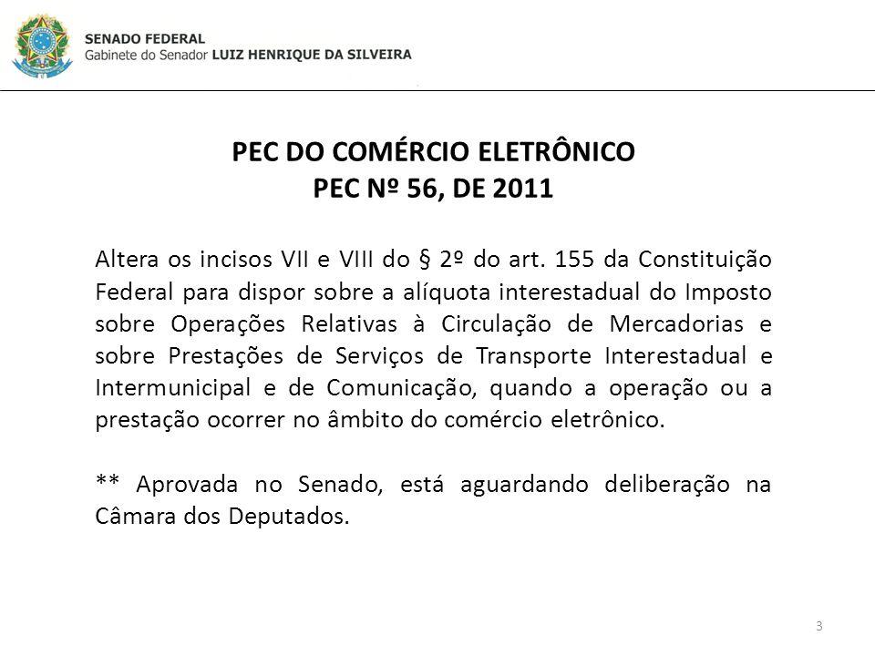 3 PEC DO COMÉRCIO ELETRÔNICO PEC Nº 56, DE 2011 Altera os incisos VII e VIII do § 2º do art.