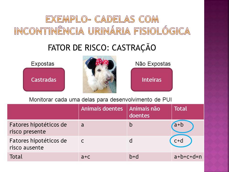 FATOR DE RISCO: CASTRAÇÃO Animais doentesAnimais não doentes Total Fatores hipotéticos de risco presente aba+b Fatores hipotéticos de risco ausente cd