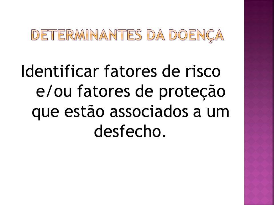 Identificar fatores de risco e/ou fatores de proteção que estão associados a um desfecho.
