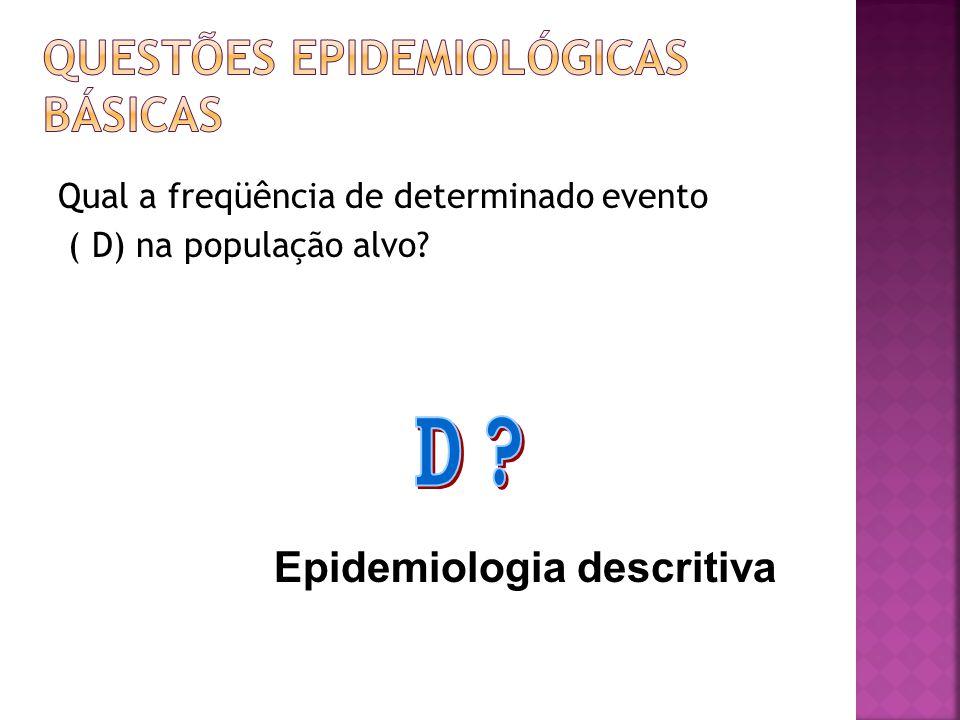 Qual a freqüência de determinado evento ( D) na população alvo? Epidemiologia descritiva