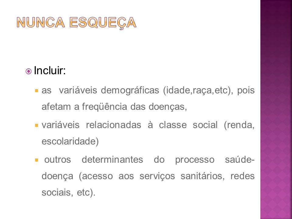  Incluir:  as variáveis demográficas (idade,raça,etc), pois afetam a freqüência das doenças,  variáveis relacionadas à classe social (renda, escola