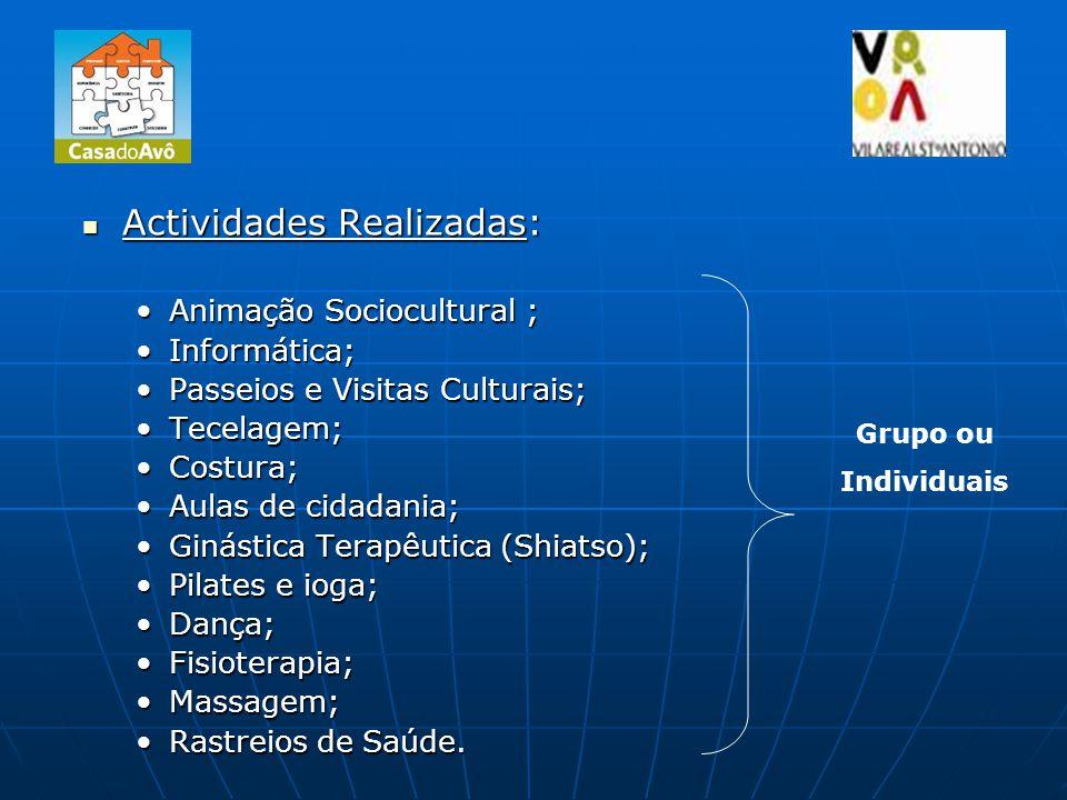 Actividades Realizadas: Actividades Realizadas: Animação Sociocultural ;Animação Sociocultural ; Informática;Informática; Passeios e Visitas Culturais;Passeios e Visitas Culturais; Tecelagem;Tecelagem; Costura;Costura; Aulas de cidadania;Aulas de cidadania; Ginástica Terapêutica (Shiatso);Ginástica Terapêutica (Shiatso); Pilates e ioga;Pilates e ioga; Dança;Dança; Fisioterapia;Fisioterapia; Massagem;Massagem; Rastreios de Saúde.Rastreios de Saúde.