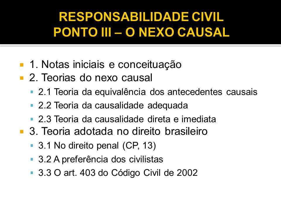  1. Notas iniciais e conceituação  2. Teorias do nexo causal  2.1 Teoria da equivalência dos antecedentes causais  2.2 Teoria da causalidade adequ