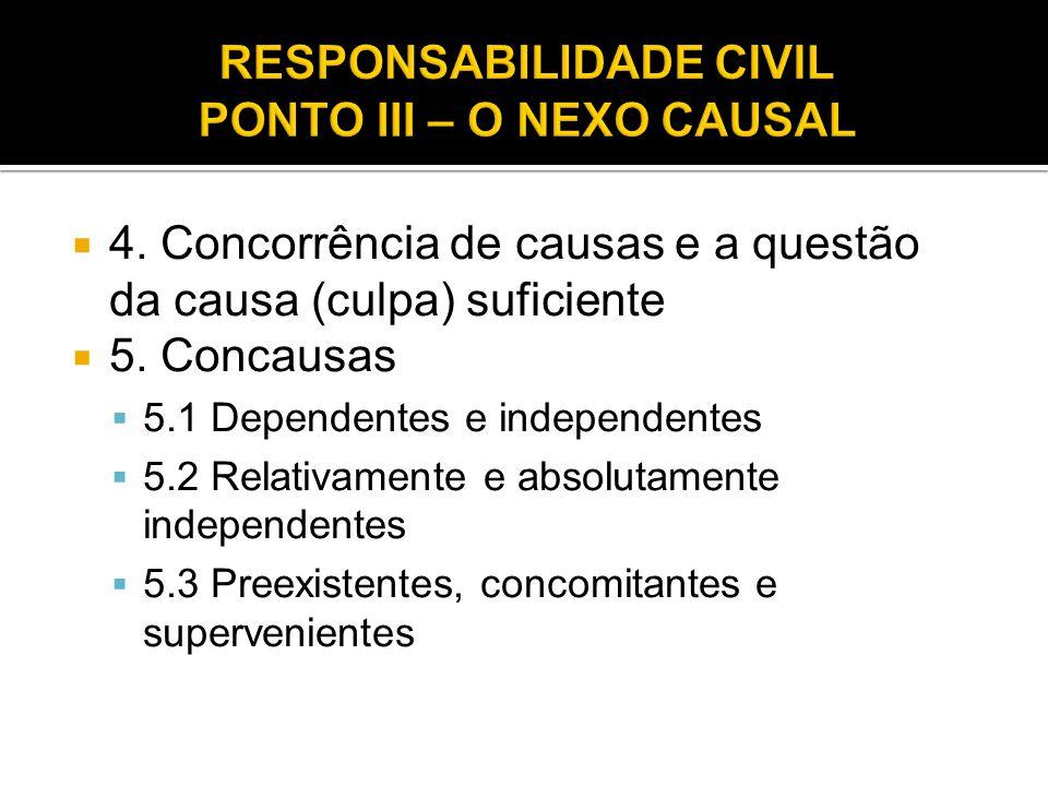  4. Concorrência de causas e a questão da causa (culpa) suficiente  5. Concausas  5.1 Dependentes e independentes  5.2 Relativamente e absolutamen