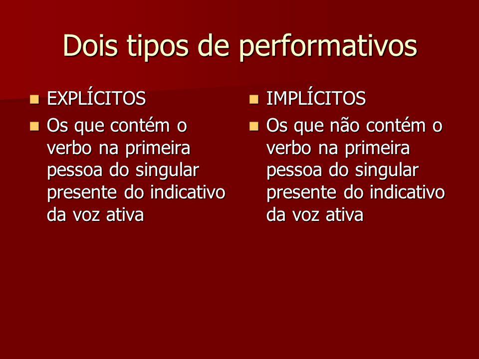 Dois tipos de performativos EXPLÍCITOS EXPLÍCITOS Os que contém o verbo na primeira pessoa do singular presente do indicativo da voz ativa Os que cont