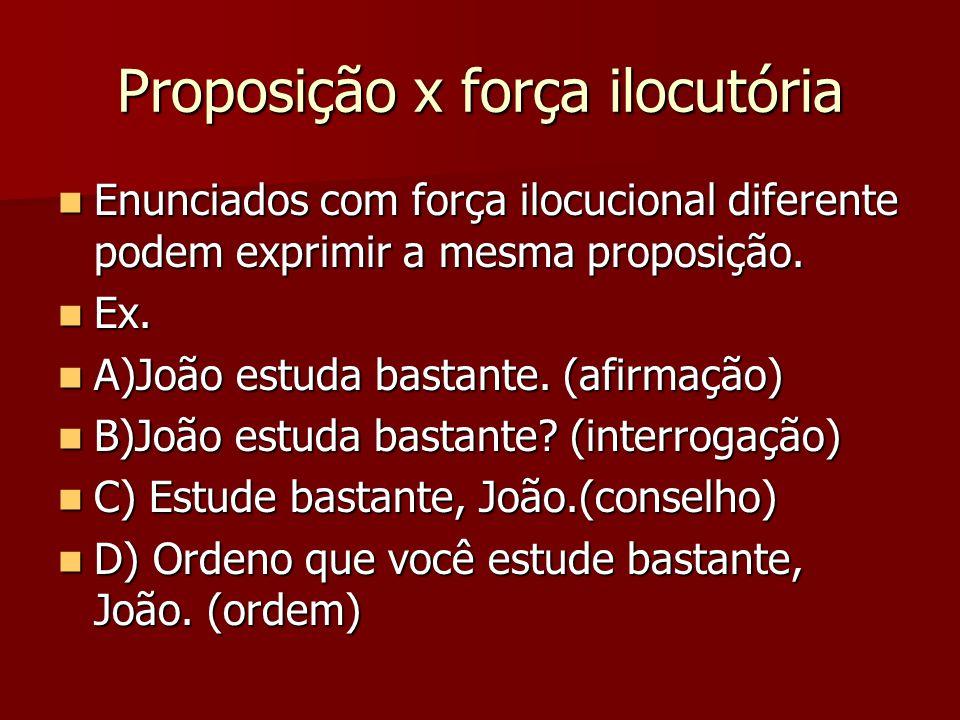Proposição x força ilocutória Enunciados com força ilocucional diferente podem exprimir a mesma proposição. Enunciados com força ilocucional diferente