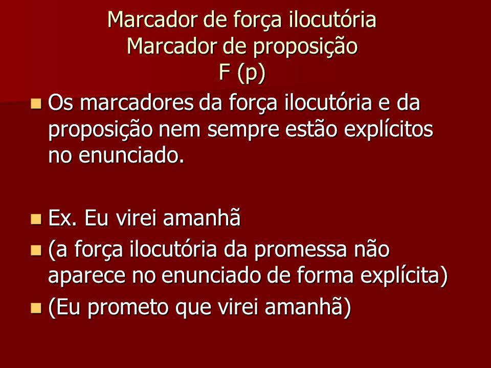 Marcador de força ilocutória Marcador de proposição F (p) Os marcadores da força ilocutória e da proposição nem sempre estão explícitos no enunciado.