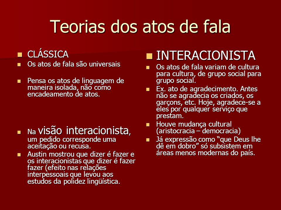 Teorias dos atos de fala CLÁSSICA CLÁSSICA Os atos de fala são universais Os atos de fala são universais Pensa os atos de linguagem de maneira isolada