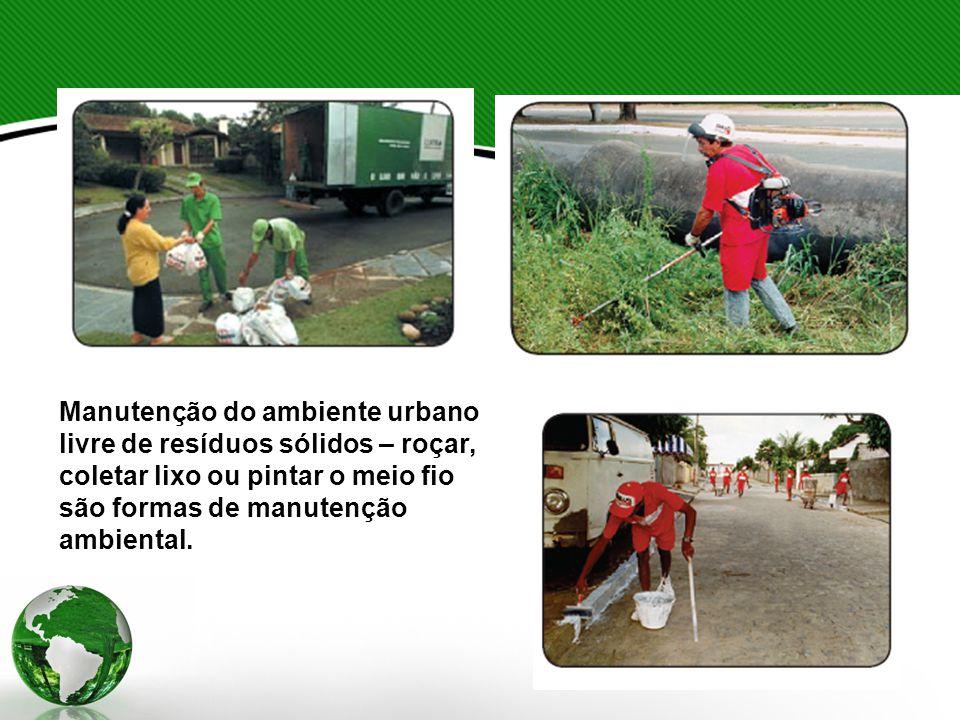 Manutenção do ambiente urbano livre de resíduos sólidos – roçar, coletar lixo ou pintar o meio fio são formas de manutenção ambiental.