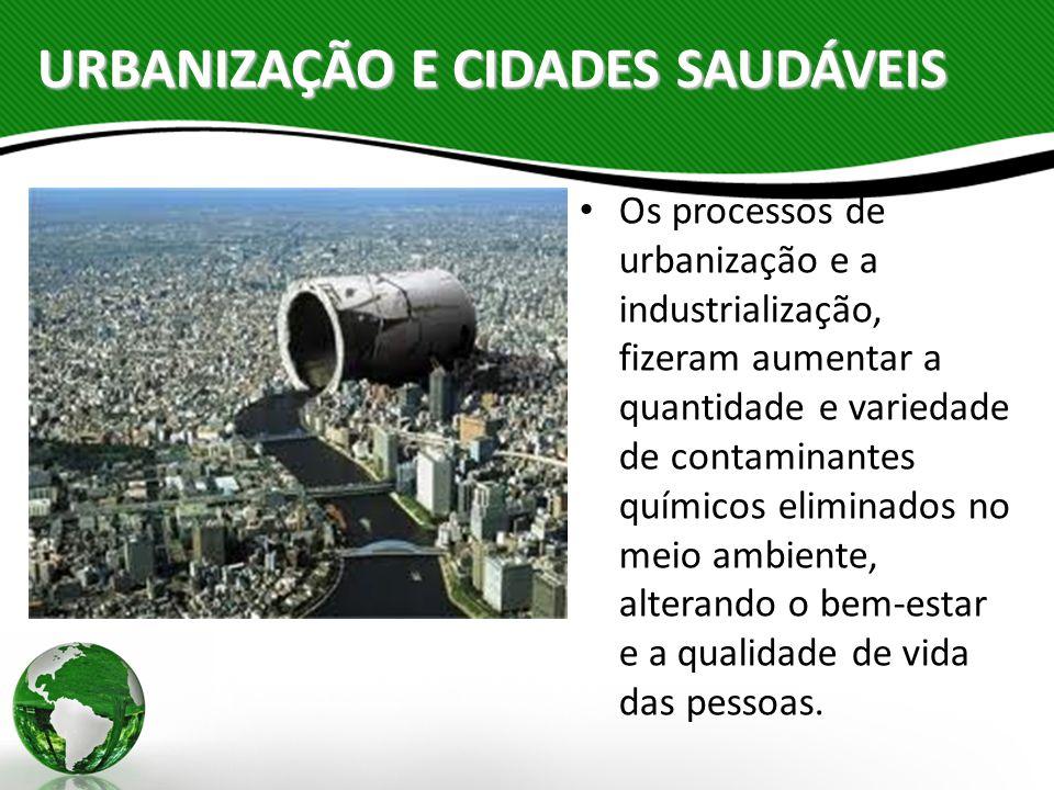 URBANIZAÇÃO E CIDADES SAUDÁVEIS Os processos de urbanização e a industrialização, fizeram aumentar a quantidade e variedade de contaminantes químicos