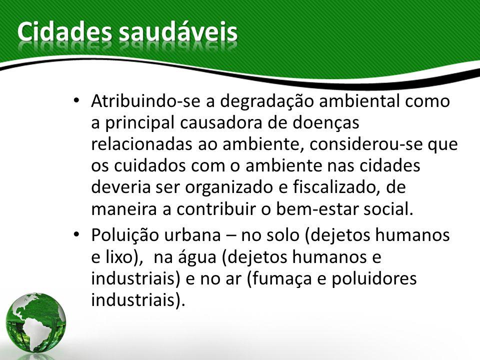 Atribuindo-se a degradação ambiental como a principal causadora de doenças relacionadas ao ambiente, considerou-se que os cuidados com o ambiente nas