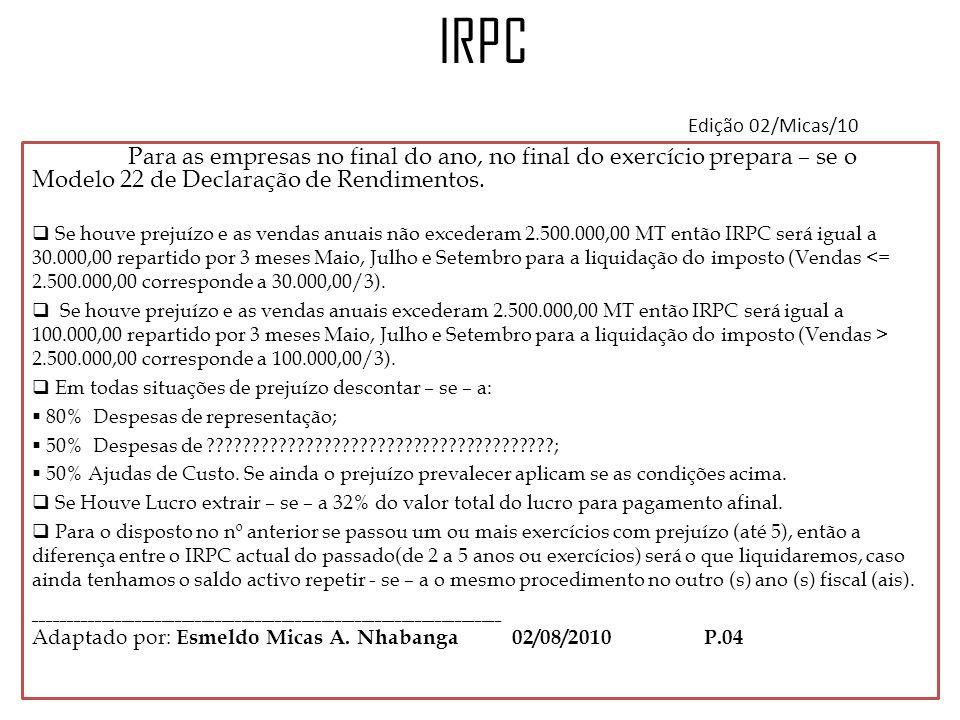 IRPC Edição 02/Micas/10 Para as empresas no final do ano, no final do exercício prepara – se o Modelo 22 de Declaração de Rendimentos.  Se houve prej