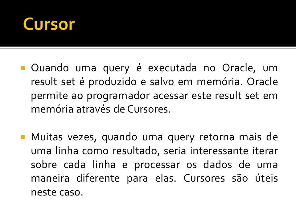  Quando uma query é executada no Oracle, um result set é produzido e salvo em memória.