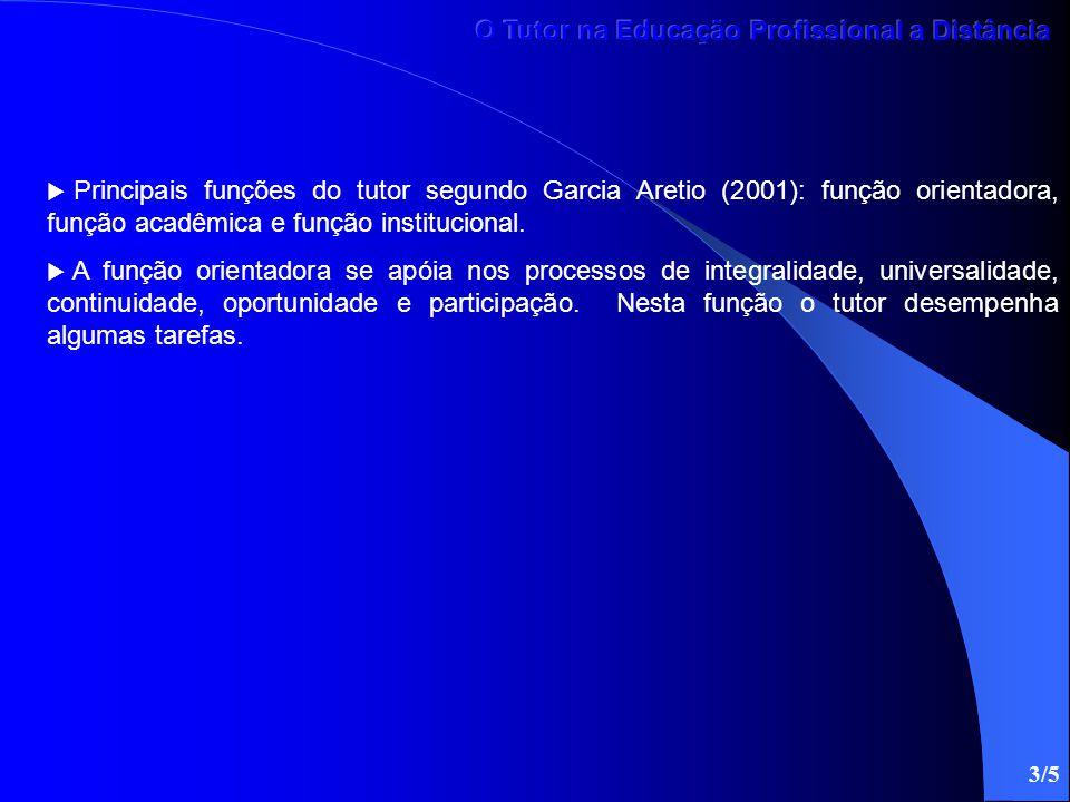 Principais funções do tutor segundo Garcia Aretio (2001): função orientadora, função acadêmica e função institucional.  A função orientadora se apó