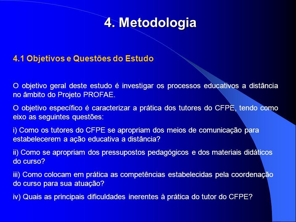 4.1 Objetivos e Questões do Estudo O objetivo geral deste estudo é investigar os processos educativos a distância no âmbito do Projeto PROFAE. O objet