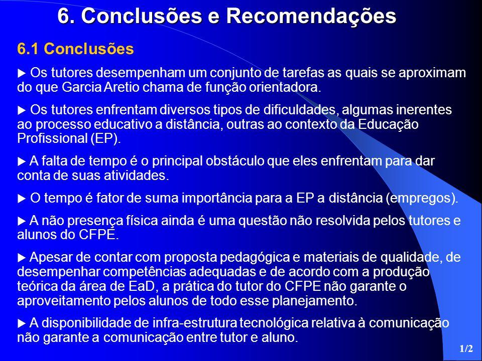 6.1 Conclusões  Os tutores desempenham um conjunto de tarefas as quais se aproximam do que Garcia Aretio chama de função orientadora.  Os tutores en