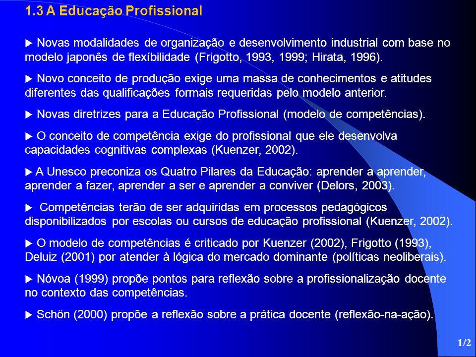 1.3 A Educação Profissional  Novas modalidades de organização e desenvolvimento industrial com base no modelo japonês de flexíbilidade (Frigotto, 199