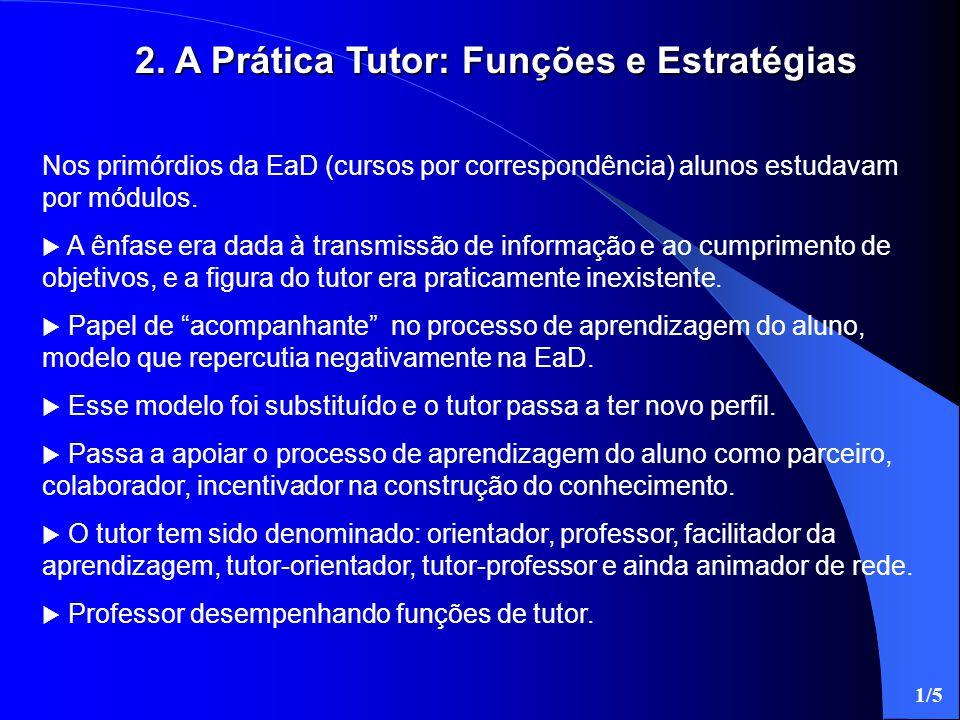 2. A Prática Tutor: Funções e Estratégias Nos primórdios da EaD (cursos por correspondência) alunos estudavam por módulos.  A ênfase era dada à trans