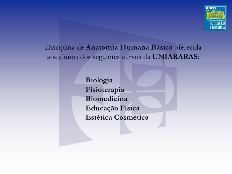 Disciplina de Anatomia Humana Básica oferecida aos alunos dos seguintes cursos da UNIARARAS: Biologia Fisioterapia Biomedicina Educação Física Estétic