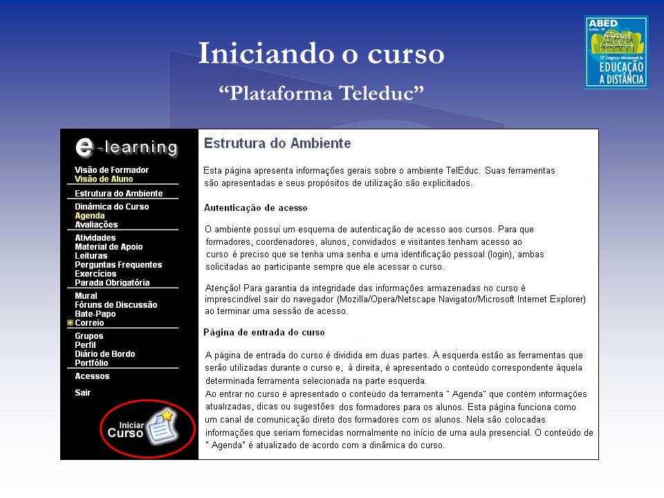 """Iniciando o curso """"Plataforma Teleduc"""""""