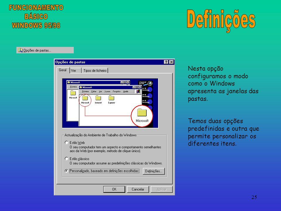 25 Nesta opção configuramos o modo como o Windows apresenta as janelas das pastas.