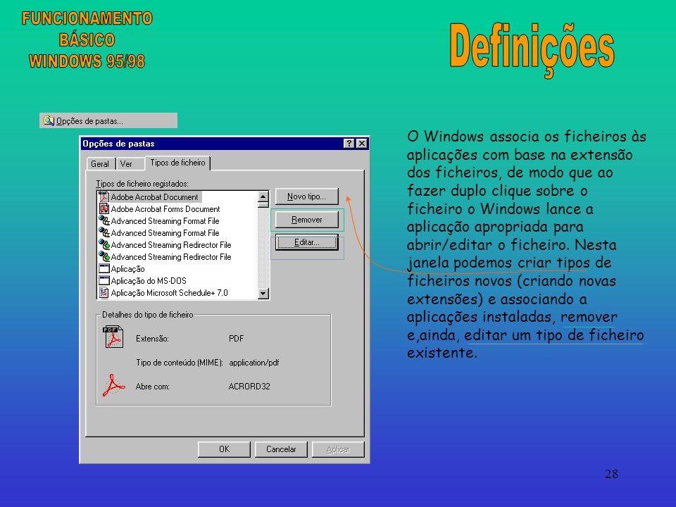 28 O Windows associa os ficheiros às aplicações com base na extensão dos ficheiros, de modo que ao fazer duplo clique sobre o ficheiro o Windows lance a aplicação apropriada para abrir/editar o ficheiro.