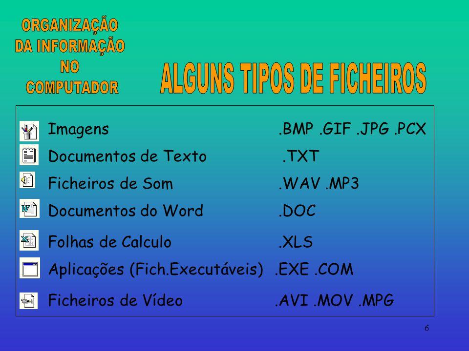 6 Imagens.BMP.GIF.JPG.PCX Documentos de Texto.TXT Ficheiros de Som.WAV.MP3 Documentos do Word.DOC Folhas de Calculo.XLS Aplicações (Fich.Executáveis).EXE.COM Ficheiros de Vídeo.AVI.MOV.MPG