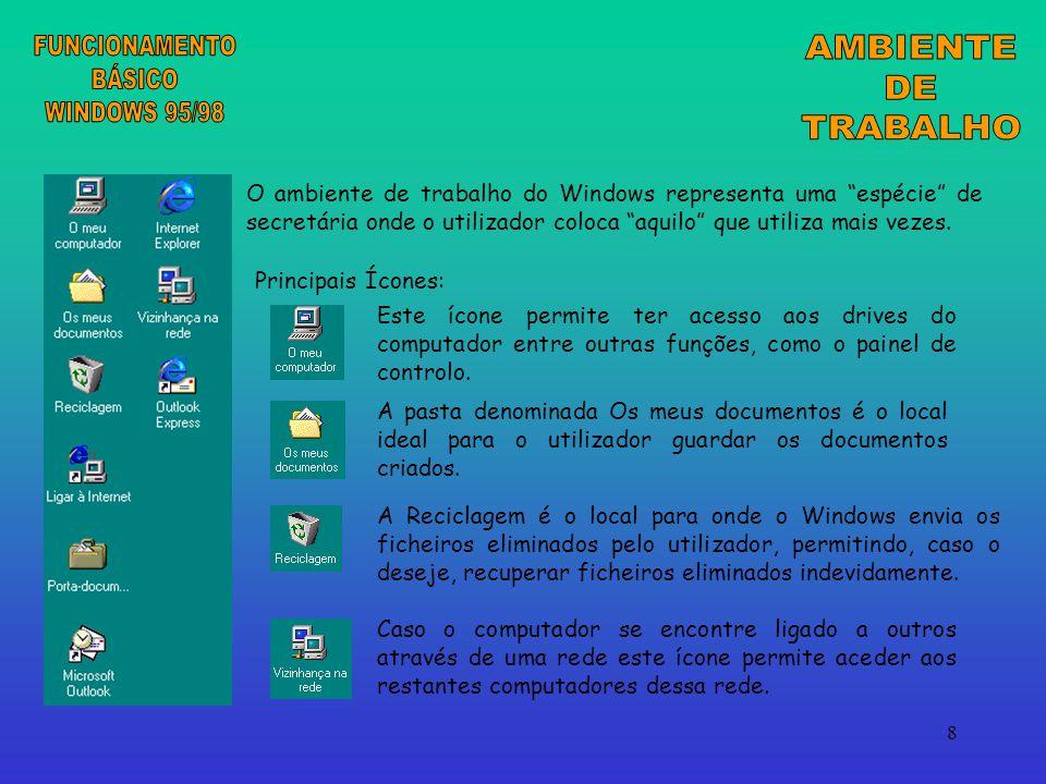 8 O ambiente de trabalho do Windows representa uma espécie de secretária onde o utilizador coloca aquilo que utiliza mais vezes.