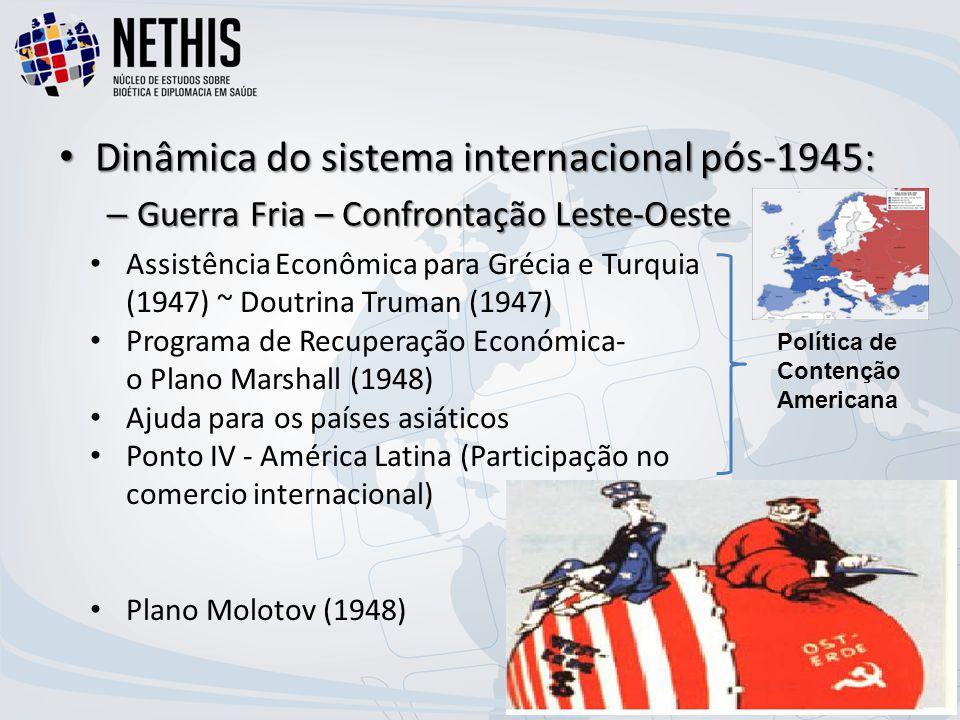 Dinâmica do sistema internacional pós-1945: Dinâmica do sistema internacional pós-1945: – Guerra Fria – Confrontação Leste-Oeste Assistência Econômica para Grécia e Turquia (1947) ~ Doutrina Truman (1947) Programa de Recuperação Económica- o Plano Marshall (1948) Ajuda para os países asiáticos Ponto IV - América Latina (Participação no comercio internacional) Plano Molotov (1948) Política de Contenção Americana
